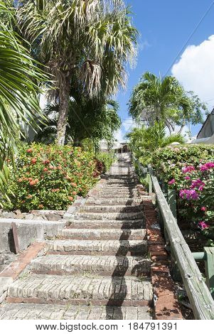 The old stairs in Charlotte Amalie town on St. Thomas island (U.S. Virgin Islands).