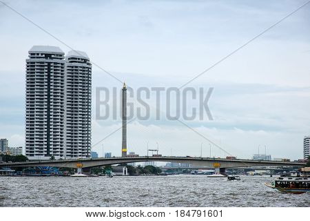 Bhumibol Bridge spread over Grand Canal in Bangkok Thailand Asia. The Rama VIII Bridge is a cable-stayed bridge crossing the Chao Phraya River in Bangkok