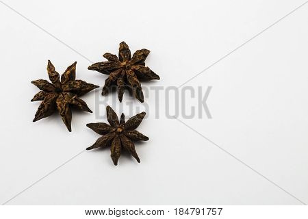 Dried Chinese Star Anise on a White Background