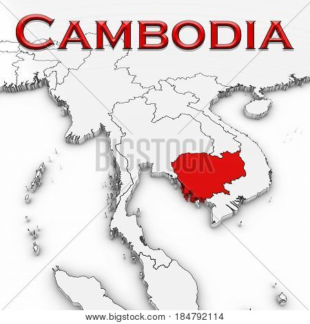 3D Map Of Cambodia With Country Name Highlighted Red On White Background 3D Illustration