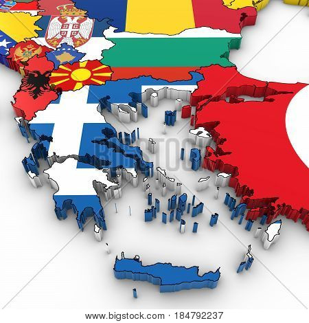 3D Map Of The Balkans With National Flags On White Background 3D Illustration