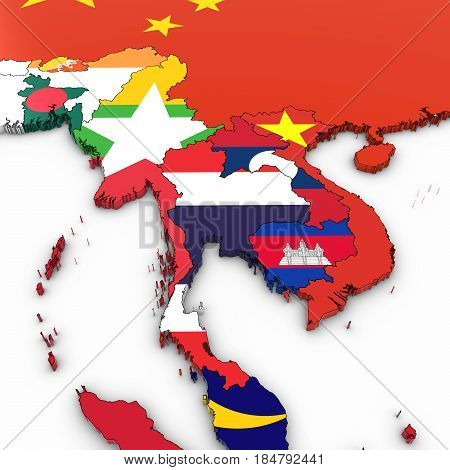 3D Map Of Southeast Asia With National Flags On White Background 3D Illustration
