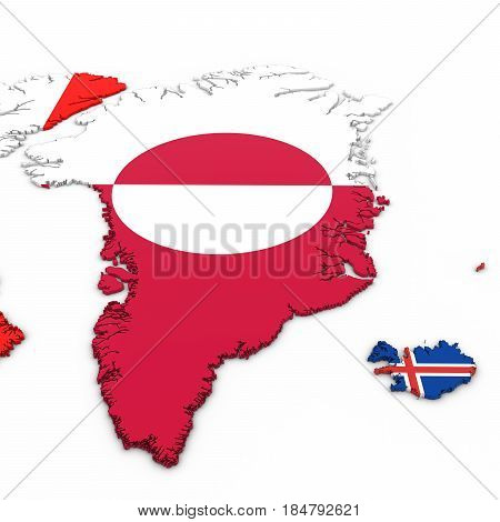 3D Map Of Greenland And Iceland With National Flags On White Background 3D Illustration