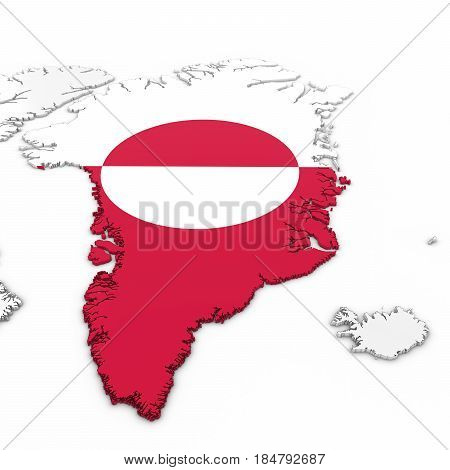 3D Map Of Greenland With Greenlandic Flag On White Background 3D Illustration