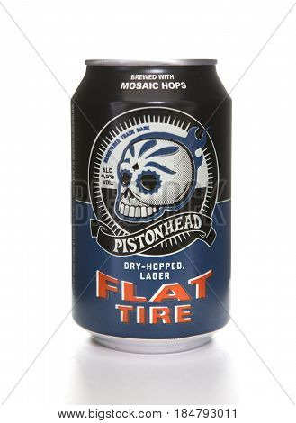 SWINDON UK - APRIL 29 2017: A can of Pistonhead Flat Tire Dry Hopped Lager from the Swedish Spendrups Brygger brewery on a white background