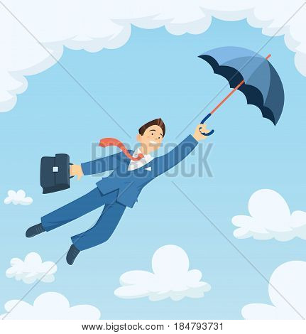 Businessman flying with umbrella in sky. Successful business. Career progress. Isolated white background. Vector illustration.