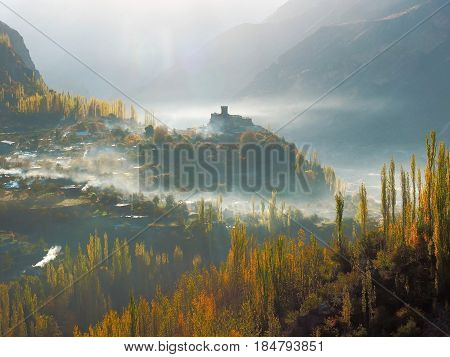 Close Up Of Altit Fort With Surrounding Mist In Hunza Valley In Autumn Season, Karimabad, Gilgit-Baltistan Region Of Pakistan