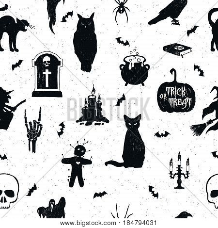 Halloween seamless pattern with hand drawn vector illustrations of an owl tombstone kettle jack-o-lantern raven cat witch voodoo doll candelabrum skull and bats.