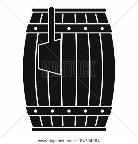 Wooden barrel with ladle icon in simple style isolated vector illustration