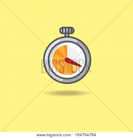Vector illustration stopwatch isolated on yellow background. Illustration stopwatch icon