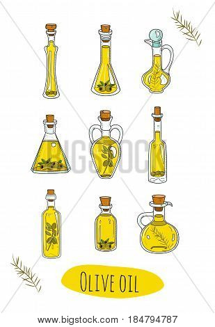 9 isolated doodle olive oils in cute bottles. Sketchy hand drawn vegetable oils. Organic set in cartoon style. With origin healthy products olive branches and berries.