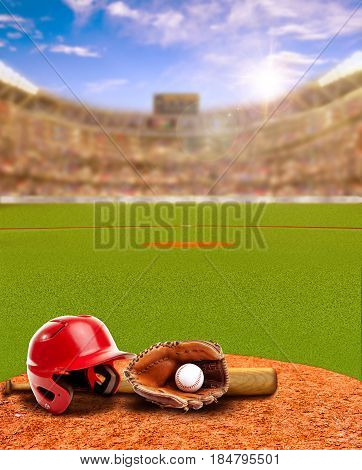 3D rendered sunset on baseball stadium full of fans in the stands with baseball helmet bat glove and ball on infield dirt clay. Deliberate focus on foreground with shallow depth of field on background and sun flare for effect. Copy space.