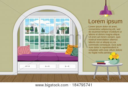 Light interior in a classic, modern and provincial style. Vector illustration of a living room with large windows and space for text