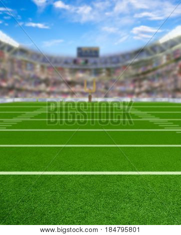 3D rendered American football stadium full of fans in the stands with copy space. Deliberate focus on foreground and shallow depth of field on background.