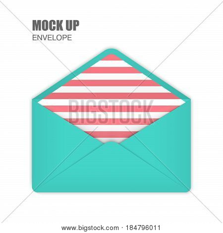 Aquamarine Open Empy Envelopes with pink stripes inside. Template for Your Business. Vector illustration