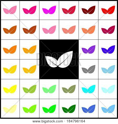 Leaf sign illustration. Vector. Felt-pen 33 colorful icons at white and black backgrounds. Colorfull.