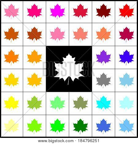 Maple leaf sign. Vector. Felt-pen 33 colorful icons at white and black backgrounds. Colorfull.