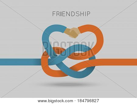 Frienship concept vector illustration in flat style. Vector illustration of intertwined hands. Business template. Press illustration
