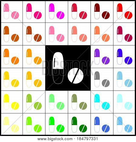 Medical pills sign. Vector. Felt-pen 33 colorful icons at white and black backgrounds. Colorfull.