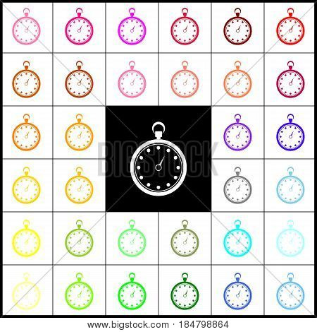 Stopwatch sign illustration. Vector. Felt-pen 33 colorful icons at white and black backgrounds. Colorfull.