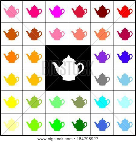 Tea maker sign. Vector. Felt-pen 33 colorful icons at white and black backgrounds. Colorfull.
