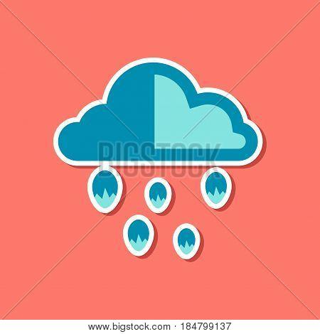 paper sticker on stylish background cloud hail