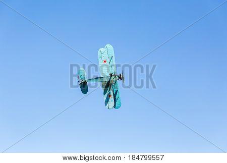 Samara Russia - April 30 2017: Retro Russian aeroplane Polikarpov PO-2 in the blue sky