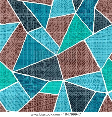 Seamless abstract pattern. Print in the style of patchwork. Brown and blue shades. Doodle elements, scrawl. Vector illustration.