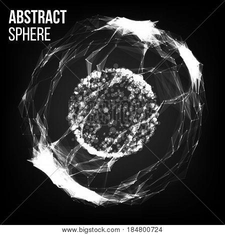 Flying Debris. 3D Vector Illustration. Science And Technology Background.