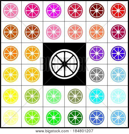 Fruits lemon sign. Vector. Felt-pen 33 colorful icons at white and black backgrounds. Colorfull.