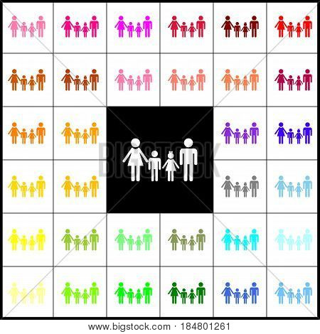 Family sign. Vector. Felt-pen 33 colorful icons at white and black backgrounds. Colorfull.