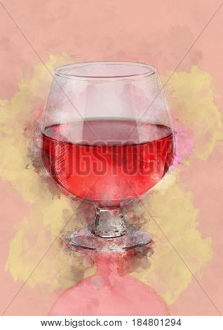 Water Color Painting of Red Wine Glass
