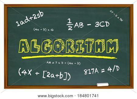 Algorithm Chalkboard Learn Math Equation Solution 3d Illustration