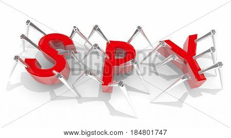 Spy Snooping Spiders Spies Covert Intelligence 3d Illustration