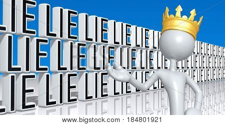 The King With A Wall Of Lies 3D Illustration