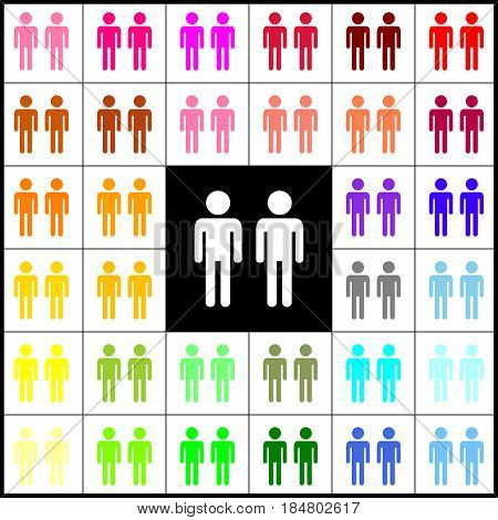 Gay family sign. Vector. Felt-pen 33 colorful icons at white and black backgrounds. Colorfull.