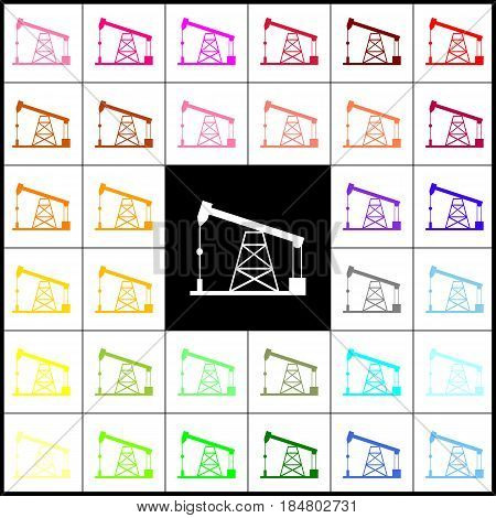Oil drilling rig sign. Vector. Felt-pen 33 colorful icons at white and black backgrounds. Colorfull.