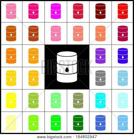 Oil barrel sign. Vector. Felt-pen 33 colorful icons at white and black backgrounds. Colorfull.
