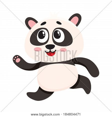 Cute and funny smiling baby panda character running, hurrying somewhere, cartoon vector illustration isolated on white background. Cute little panda bear character, mascot running fast