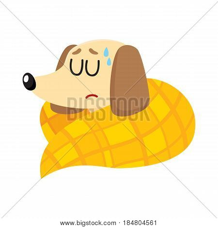 Sick baby badger dog having flu, fever, sleeping under blanket, cartoon vector illustration isolated on white background. Sick little dog having flue, cold, fever, lying under blanket with closed eyes