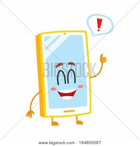 Funny cartoon mobile phone, smartphone character with wide smile showing thumb up, vector illustration isolated on white background. Happy cartoon mobile phone, smartphone character giving thumb up