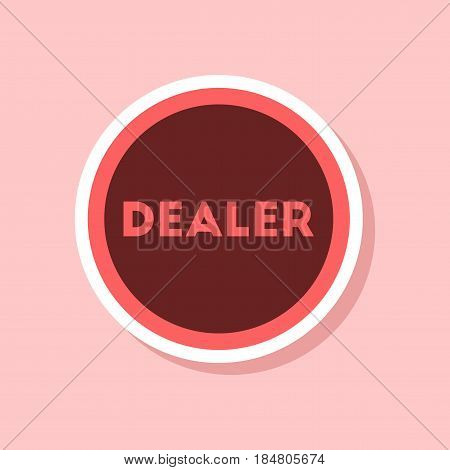 paper sticker on stylish background of poker chip dealer