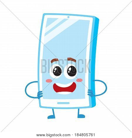 Funny cartoon mobile phone, smartphone character with shiny screen standing arms akimbo, vector illustration isolated on white background. Funny cartoon mobile phone, smartphone character arms akimbo