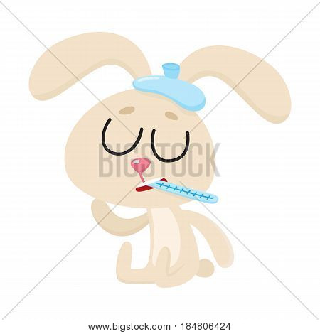 Sick baby rabbit having cold, flu, sitting with ice pack and thermometer, cartoon vector illustration isolated on white background. Sick little rabbit with ice pack and thermometer, having flu, fever