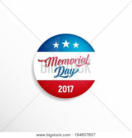 Memorial Day badge. Glossy badge of USA flag colors with typography and stars