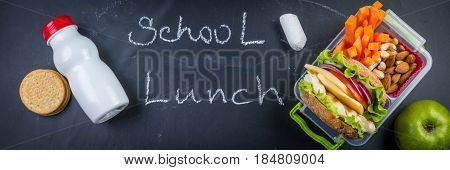 Fresh healthy school lunch, isolated on white