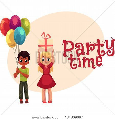 Black boy with bunch of balloons and blond girl holding birthday gift, cartoon style invitation, banner, poster, greeting card design. Party invitation, advertisement, Two kids, boy and girl