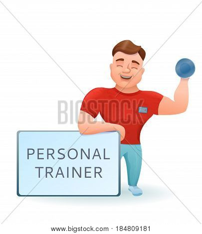 Personal fitness trainer or bodybuilder with dumbell cartoon character. Vector illustration