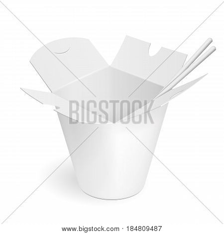 Asian, Chinese, Thai, Korean Cardboard Food Tub Box, Chopsticks. Udon, Rice, Kimchi, Crystal, Glass Noodles. Illustration Isolated On White Background. Mock Up Template Ready For Your Design. Vector.