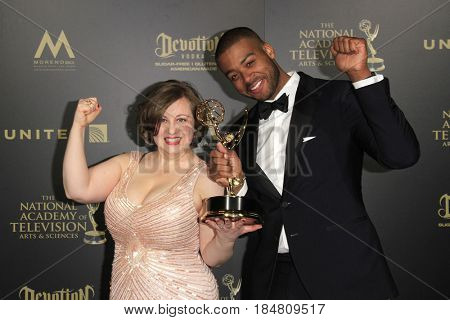 PASADENA - APR 28: Rossanna S Wright, Kris Bowers, Outstanding Music Direction Composition - 44th Daytime Creative Arts Emmy Awards Gala at the Pasadena Civic Center on April 28, 2017 in Pasadena, CA
